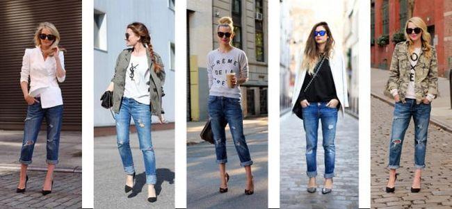 джинсы-бойфренды зимой