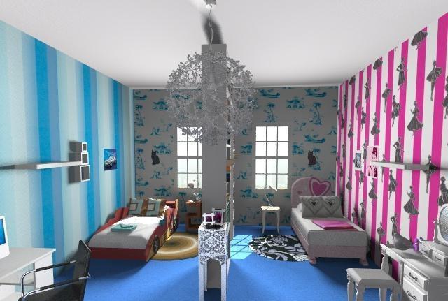 Детская комната для двух разнополых детей. Организация рабочего и спального пространства.
