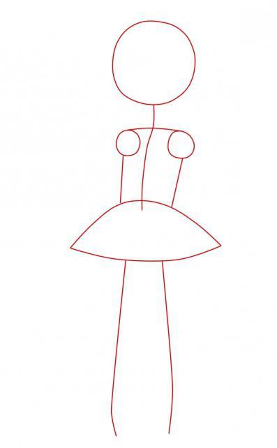 как нарисовать девочку в платье