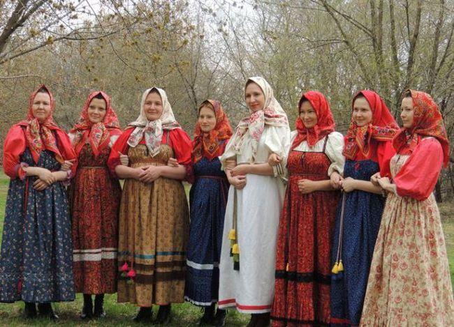как нарисовать русский народный костюм
