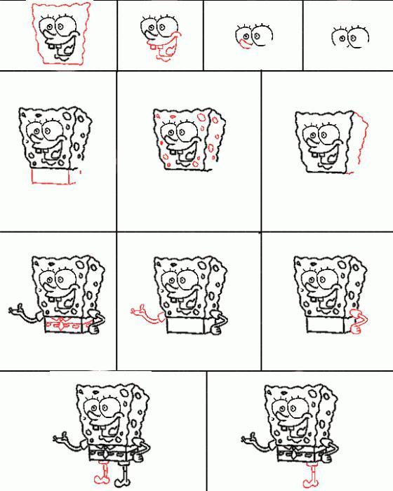 Как нарисовать спанч боба – своего любимого героя мультфильма