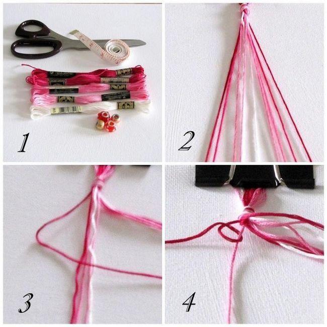 Как смастерить стильный браслет из нитки своими руками