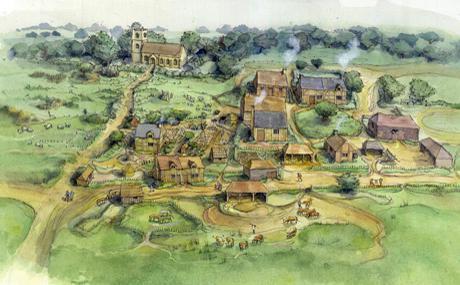 план местности средневековой деревни