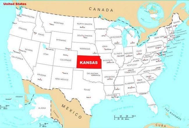 штат канзас на карте