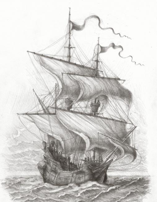 как нарисовать черную жемчужину корабль