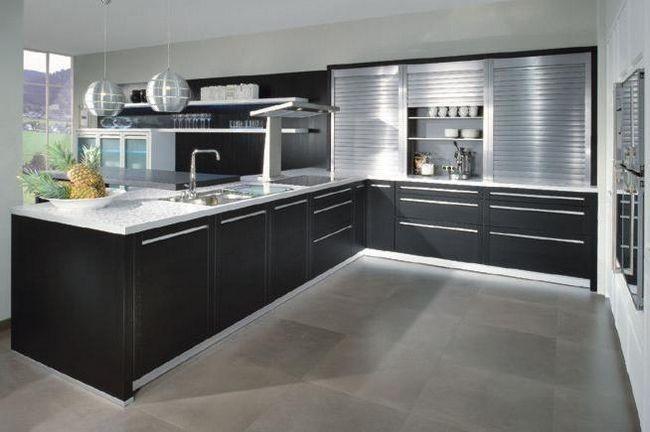 Дизайн кухни в стиле хай тек.