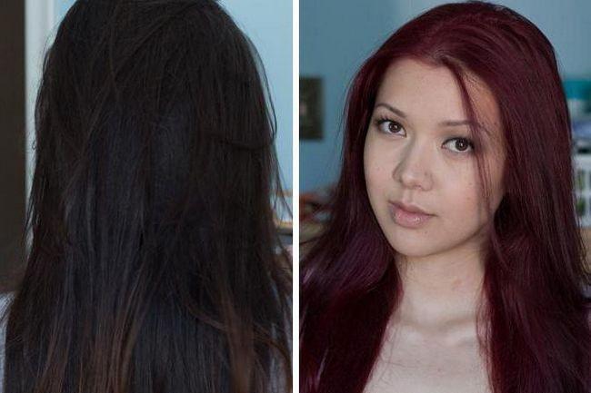 колорирование на черные волосы фото