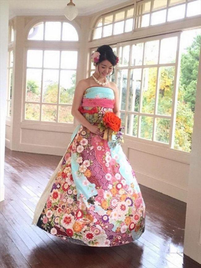 Новый тренд из японии: невесты превращают кимоно в свадебные платья