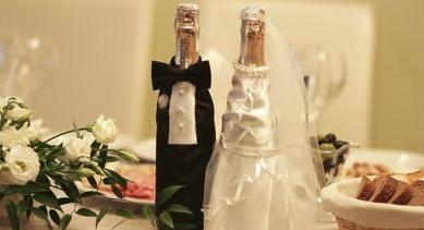 Оригинальное украшение бутылки шампанского на свадьбу.