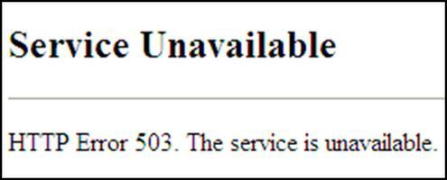 Ошибка 503. В чем причина?