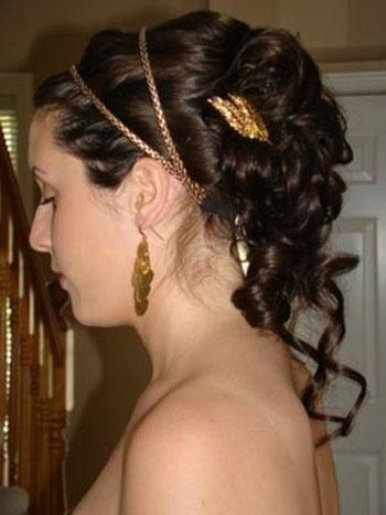 прически с греческой повязкой на длинные волосы